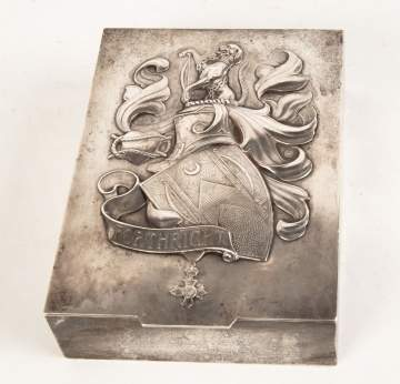 Sterling Silver English Covered Box with Coat of  Arms