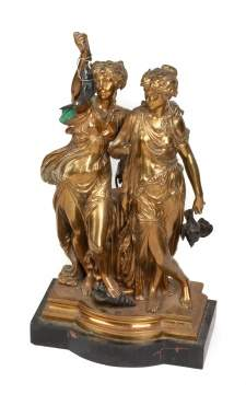 Auguste Joseph Peiffer (French, 1832-1886) Figural Bronze of Maidens (Diana)