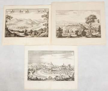 (3) 17th Century German Landscapes with Place  Names