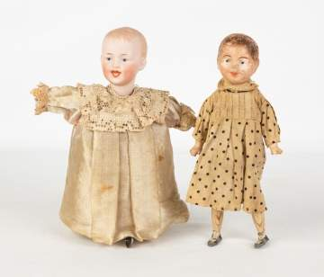 Two German Mechanical Walking Dolls