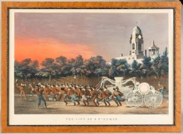 "Two Currier and Ives Lithographs, ""Life of a  Fireman"""