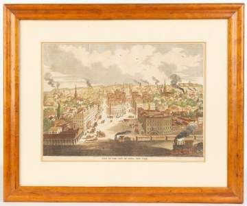 City of Utica Hand Colored Lithograph