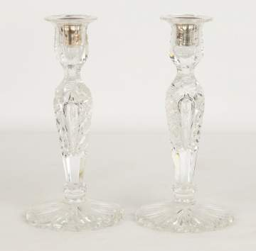 Pair of Hawkes Cut Glass Candlesitcks