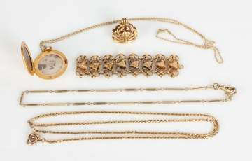 Group of 14K Gold Necklaces & Misc. Jewelry