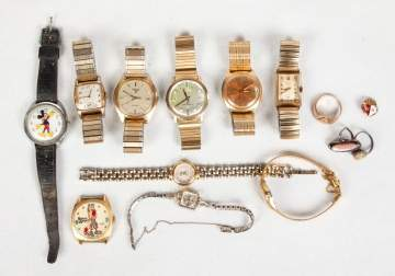 Group of Gold & Stainless Steel Watches, Silver &  Gold Rings & Metal