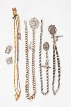 Antique Silver & Gold Plated Pocket Watch Chains & Fobs