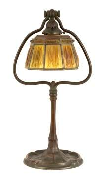 Tiffany Studios, NY Bronze Harp Desk Lamp