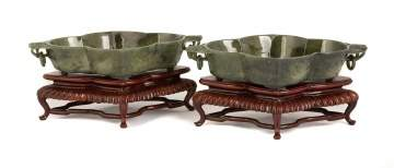 Pair of Spinach Jade Mughal Style Dishes