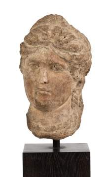 Stone Head of a Goddess with Diadem