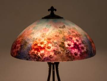 Handel Butterfly and Rose Table Lamp
