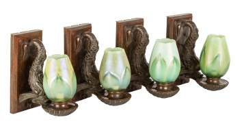Four Rare Tiffany Studios, NY Dolphin Sconces