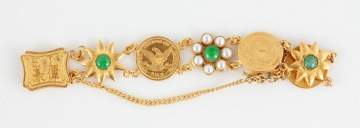 Chinese Gold US Coin, Jade and Pearl Bracelet