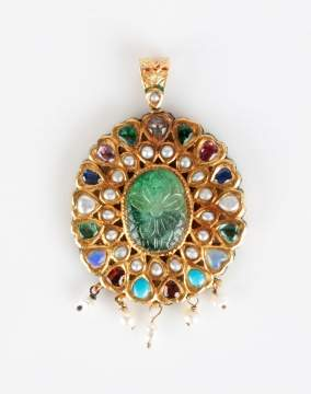 Mughal 22kt Gold, Enamel and Gem Set Pendant