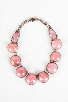 Pink Tourmaline and Sterling Silver Court Necklace