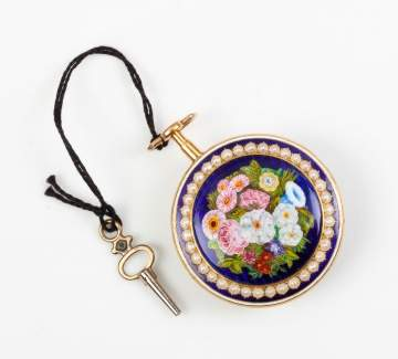 Ladies Gold, Enamel and Pearl Pocket Watch