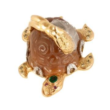 Russian 18kt Gold Turtle Brooch