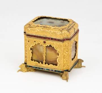 Attributed to James Cox, Gilt Copper and Agate Box