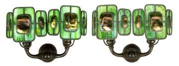 Rare Tiffany Studios, NY Turtleback Sconces