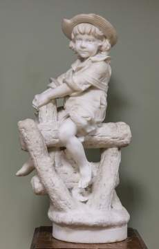 Carved Marble Child on a Stump
