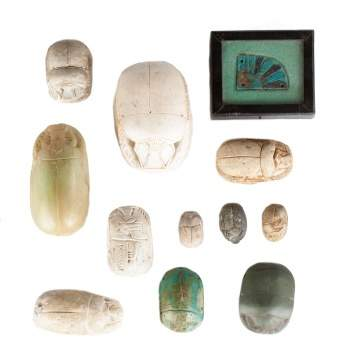 Group of 11 Egyptian Scarabs & Faience Piece