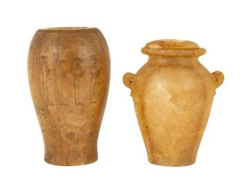 Two Egyptian Alabaster Canopic Jars