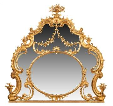 French Giltwood Over-Mantle Mirror