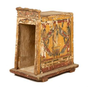 Egyptian Polychrome Wood Canopic Chest