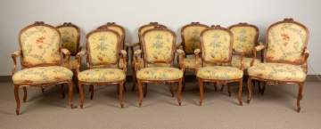 Ten French Louis XV Dining Chairs