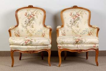 Pair of Period French Carved Walnut Armchairs
