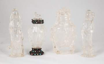 Group of Chinese Rock Crystal Urns & Court Figures