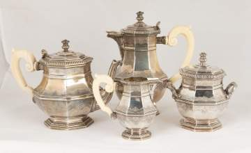 French Puiforcat Silver Coffee & Tea Set