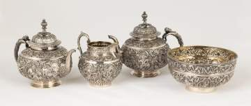 Siam Export Sterling Silver Repoussé Tea Set