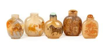 Group of Five Chinese Carved Agate Snuff Bottles