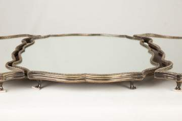 Three Piece Silver Plated Mirrored Plateau