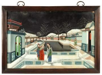 Pair of Chinese Reverse Painted Courtyard Scenes