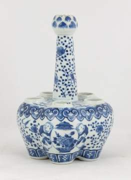 Chinese Blue & White Porcelain Bulb Vase