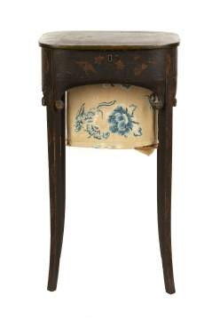 Lacquer Sewing Stand with Asian Motif