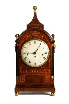 Regency Inlaid and Ebonized Shelf Clock