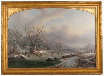 "George Gunther Hartwick (American, 1817-1899) ""Ice Skating Near East Rock, New Haven, Connecticut"""