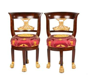 French Mahagony & Carved Giltwood Hall Chairs