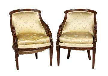 Pair of Neoclassical Fruitwood Swan Chairs