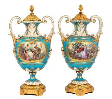 Pair of Sèvres Porcelain Urns