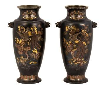Fine Pair of Japanese Mixed Metal Vases