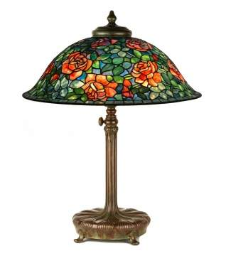 A Fine and Rare Tiffany Studios, NY Rose Table Lamp