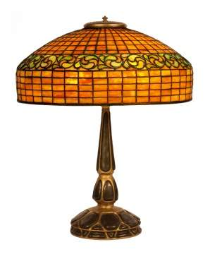 Tiffany Studios, NY Swirling Leaf Table Lamp