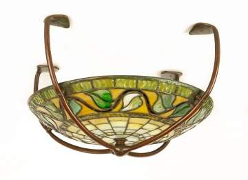 Tiffany Favrile Glass and Bronze Ceiling Fixture