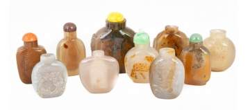 Group Chinese Agate and Hardstone Snuff Bottles