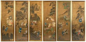 Six Chinese Painted Panels