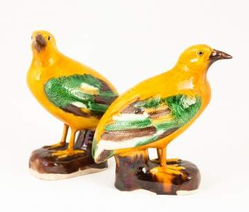 Pair of Chinese Painted Porcelain Birds