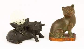 Chinese Bronze Water Buffalo & Asian Bronze Cat
